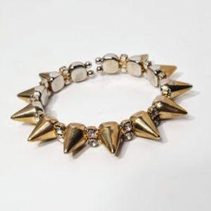 Jewelry - Gold Tone Spikes Rhinestones Bracelet